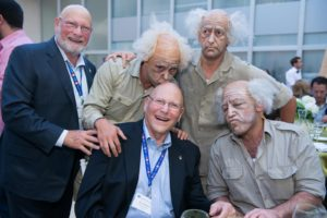 Brothers Jim and Steve Breslauer with a trio of David Ben-Gurion impersonators at the 44th Board of Governors Meeting in Beer-Sheva