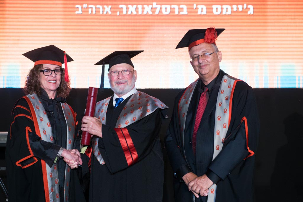 AAGBU supporter, and one of the visionaries behind Beer-Sheva's Advanced Technologies Park, Jim Breslauer received an honorary doctorate from BGU at the 44th Annual Board of Governors Meeting.